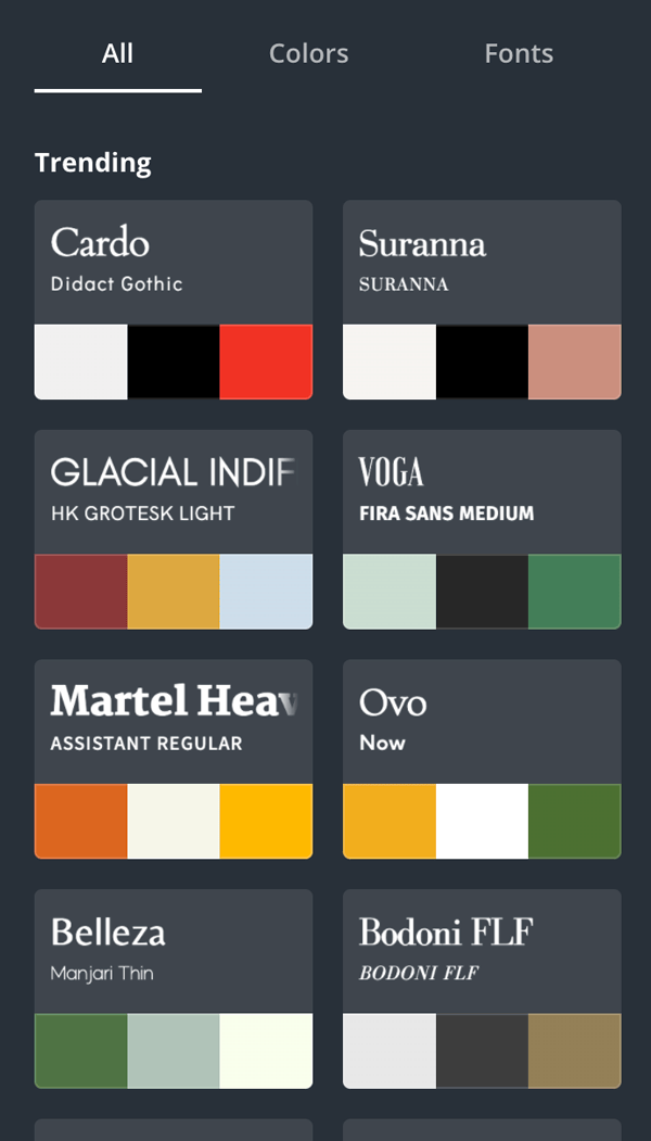 Canva styles trending colors with font pairings