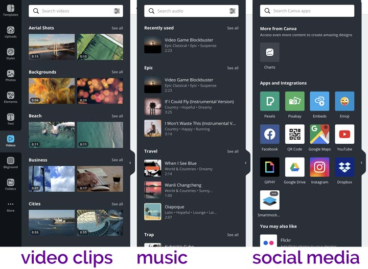 selection of stock video and music in Canva