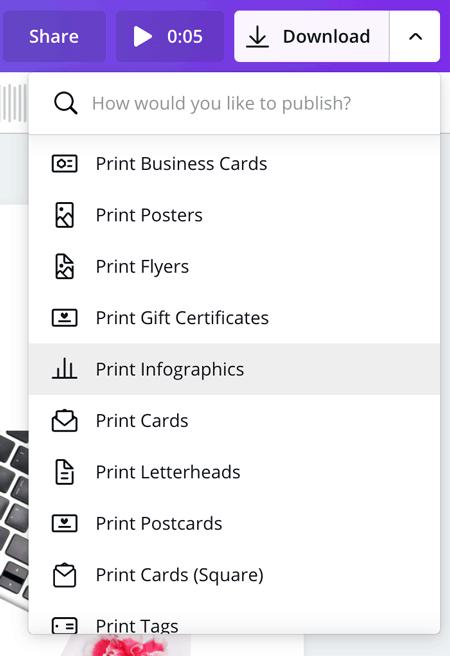 Canva print options screenshot