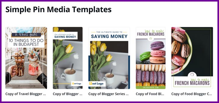 Simple Pin Media pin templates for Canva