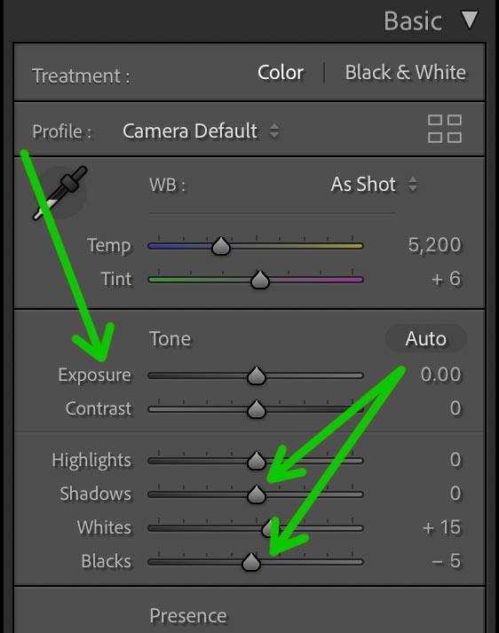 Adobe Lightroom basic exposure edits screenshot.