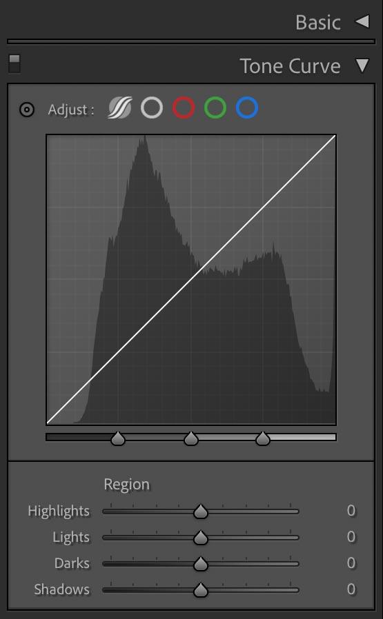 Adobe Lightroom tone curve screenshot.