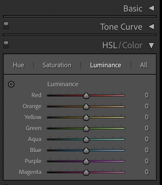 Adobe Lightroom luminance screenshot.
