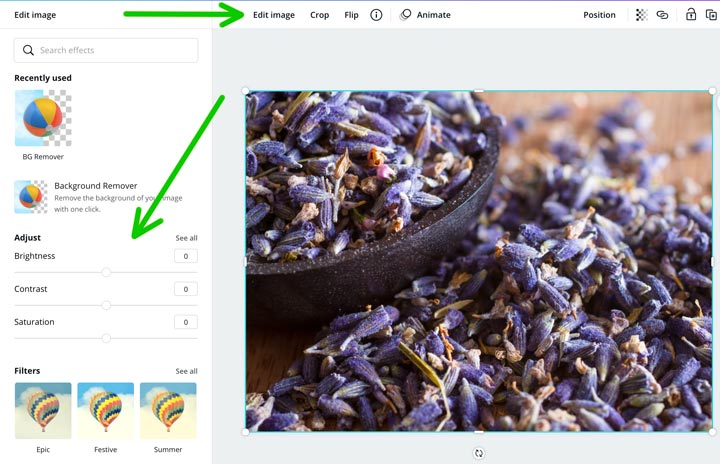 editing a photo of lavender in canva desktop.