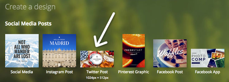 Canva's Twitter image is in the top section of Social Media Posts.