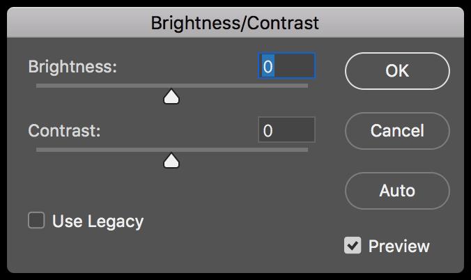Adobe Photoshop brightness contrast pane screenshot.