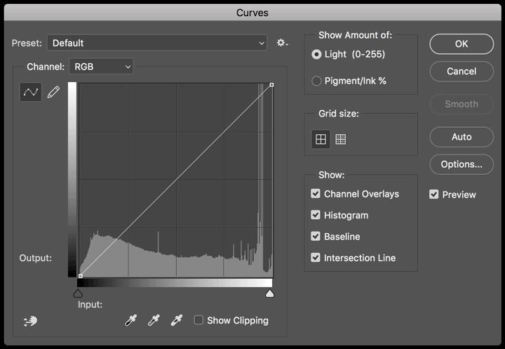 Adobe Photoshop curves panel screenshot.