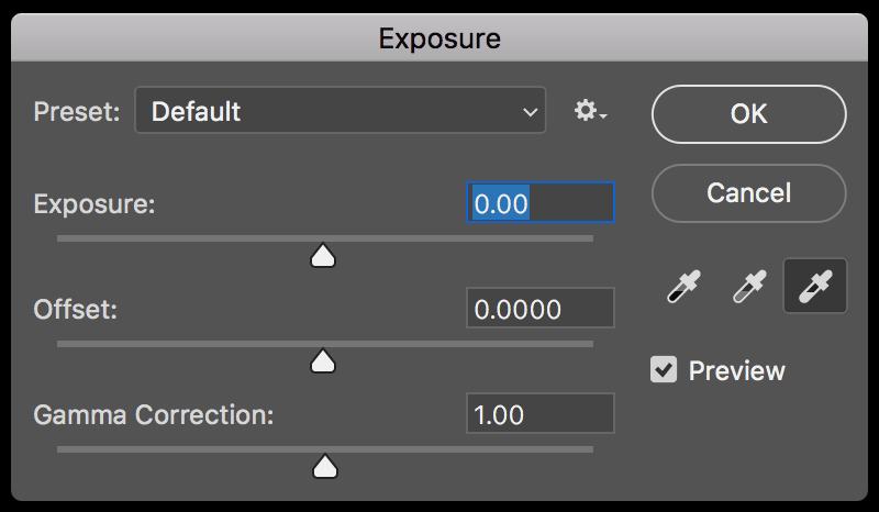 Adobe Photoshop exposure panel screenshot.