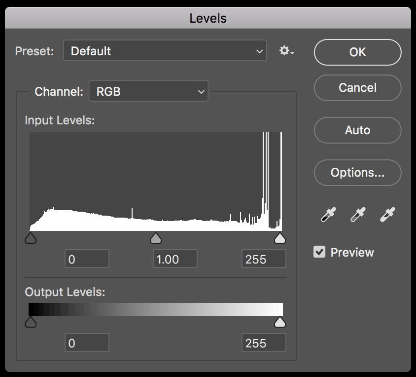 Adobe Photoshop levels panel screenshot.