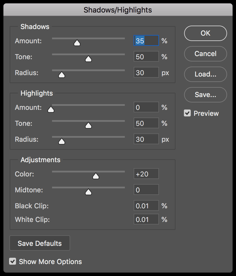 Adobe Photoshop shadows highlights panel screenshot.