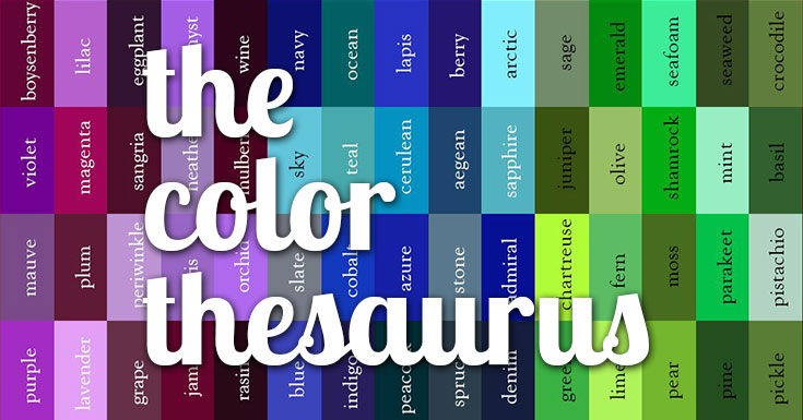 cool color thesaurus 240 colors names on an infographic