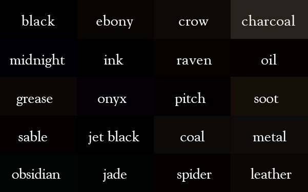 20 color names for black