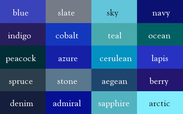 20 color names for blue