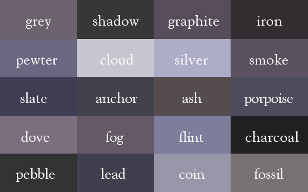 20 color names for grey or gray