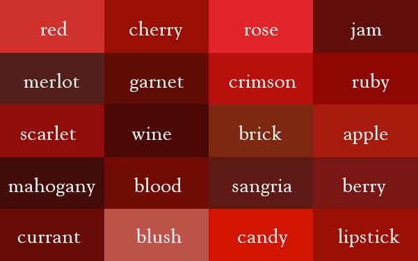 20 color names for red
