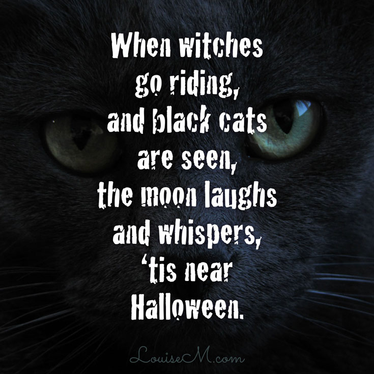 "Click to blog for more Halloween quotes and FREE photos. ""When witches go riding, and black cats are seen, the moon laughs and whispers, 'tis near Halloween."""