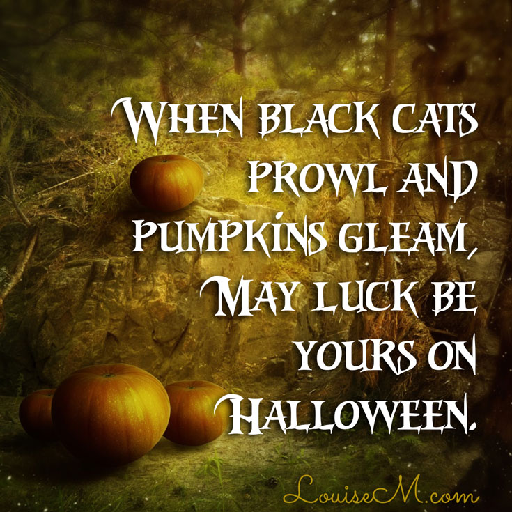 "Click to blog for more Halloween quotes and FREE photos. ""When black cats prowl and pumpkins gleam, May luck be yours on Halloween."""