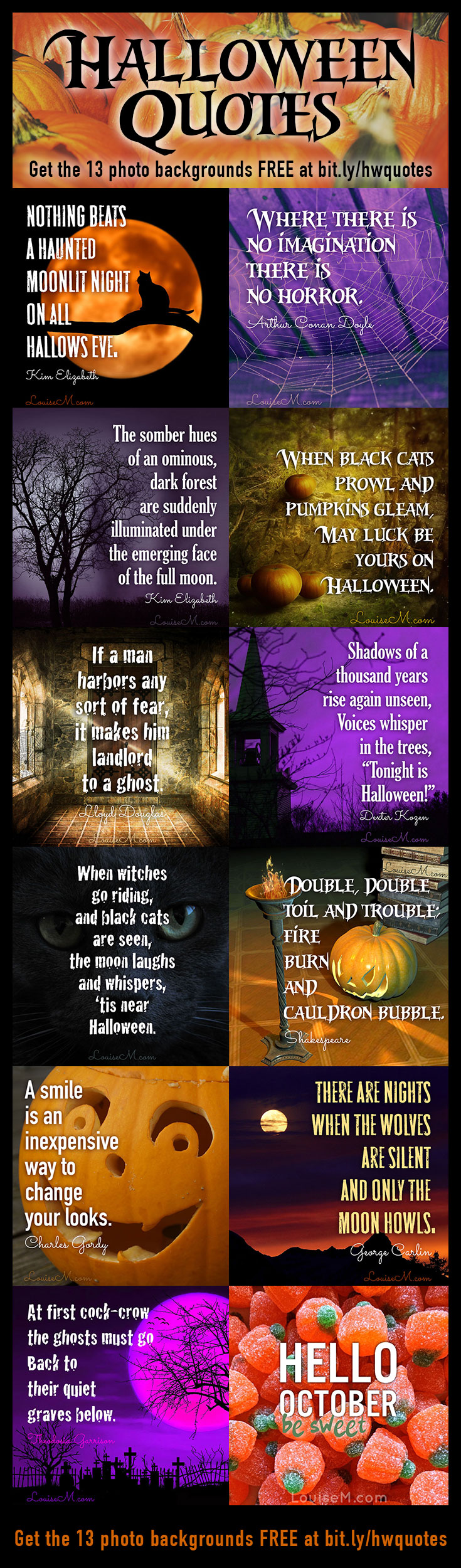 Need spooky Halloween quotes? Here are 31 short quotes and 13 simple Halloween photos - perfect for picture quotes! Plus links to instructions and fonts.