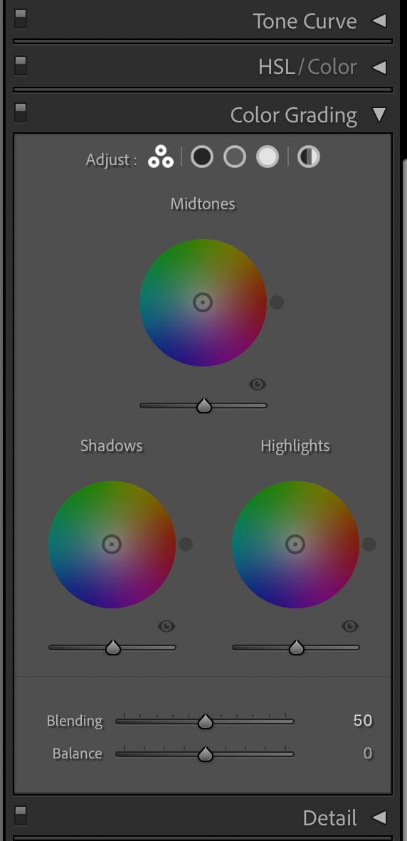 screenshot of color grading settings in lightroom.