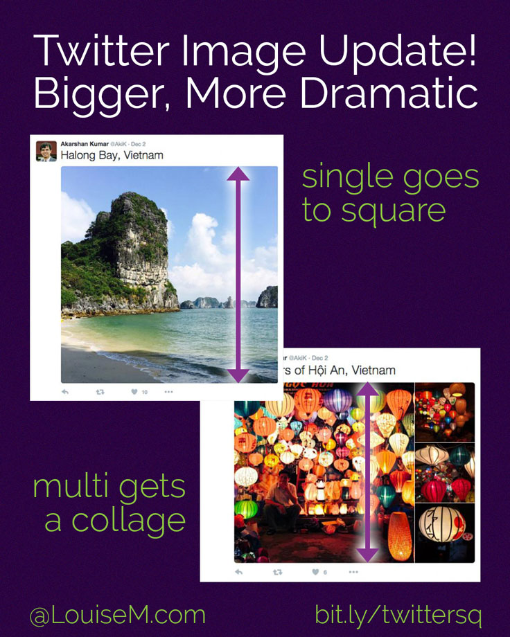 Twitter images go big! Whether a single image or a collage, you'll see large square images in your feed now. Tale advantage of the visual real estate!