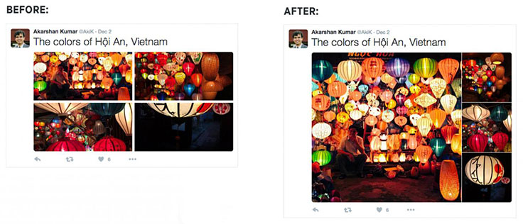 Tweets with multiple photos now pull one out as a larger square.