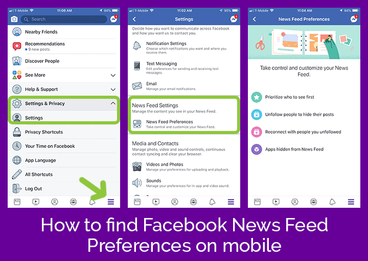 find your News Feed preferences on mobile
