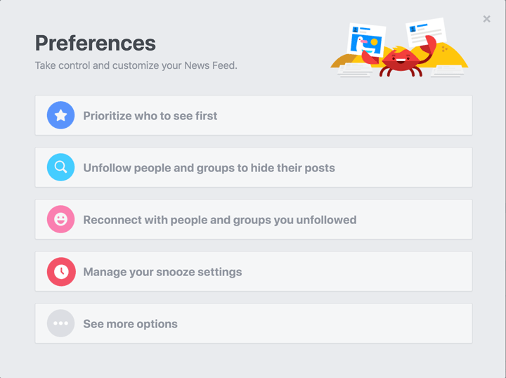 News Feed preferences on mobile and desktop