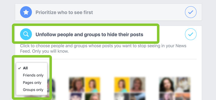 unfollow people, Pages, and groups you don't want to see