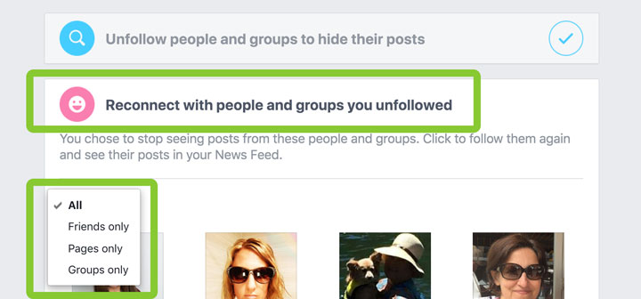 Reconnect with people, Pages, and groups you unfollowed