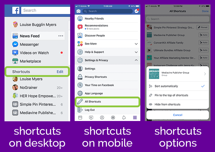 Edit your Facebook Shortcuts list