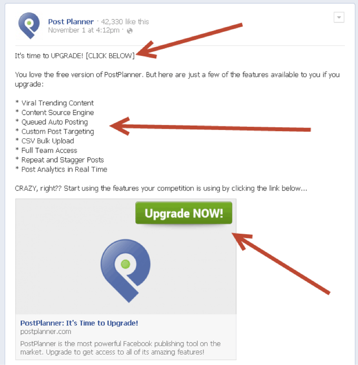 Focus on the benefits of what your service or product offers. Let's look at Post Planner's Facebook ad: