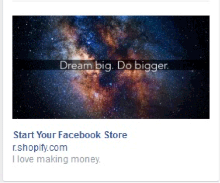 An ideal example here is that of Shopify's Facebook ad: