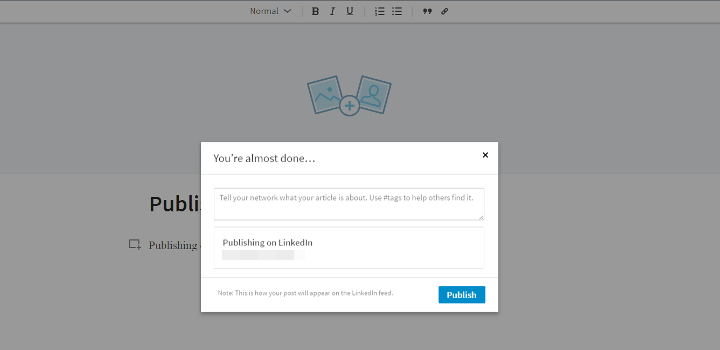 pop-up window for LinkedIn article hashtags