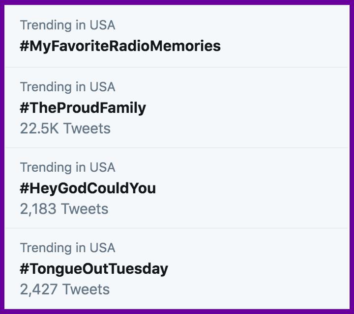 Trending hashtags on Twitter