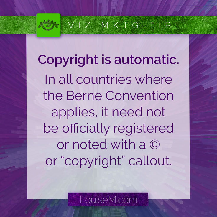 Virtually everything you find online is copyrighted by the owner or author whether it has a notice or not. Don't swipe it for your social media posts! Read more about what you can and CAN'T use legally on the blog.