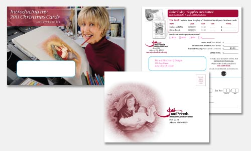 Christmas cards direct response mailer envelopes and reply device.