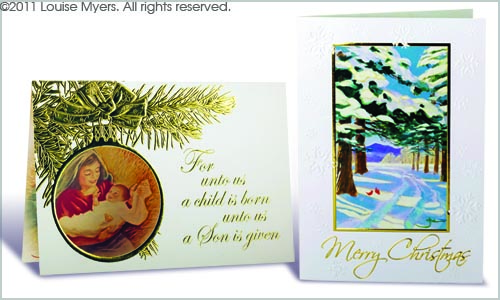 Christmas Card Designs with Foiling: Printed Samples