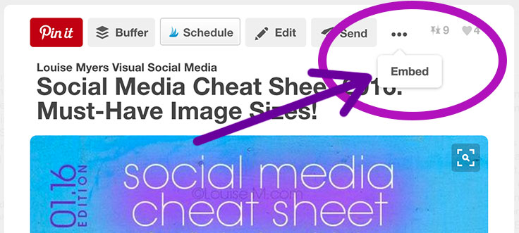 To embed a Pinterest pin, click the 3 dots at upper right, then click Embed.