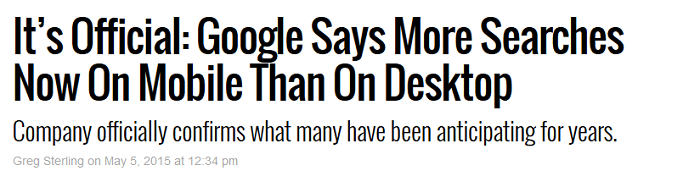 Google confirmed it now receives more searches on mobile than on desktop.