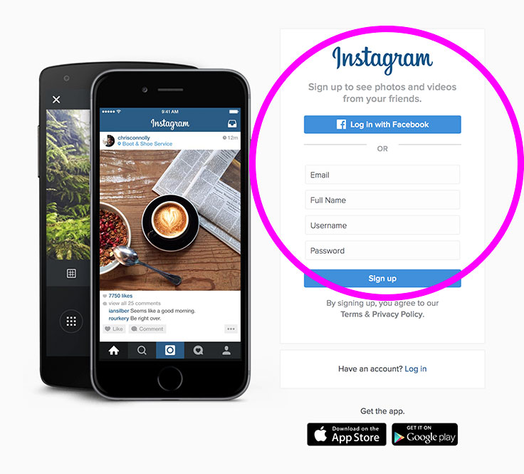 New in Spring 2016, you can open an Instagram account at Instagram.com.