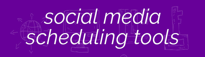 Social media scheduling tools banner image.