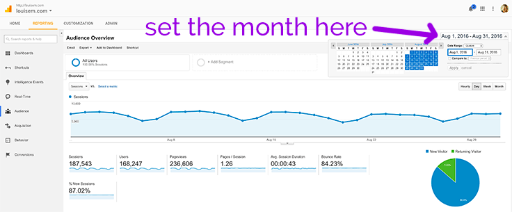Track your blog traffic for a one-month period by setting the dates at top right.