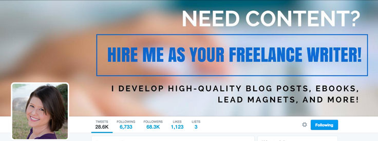 EClearly express your core business offer on your Twitter cover photo.