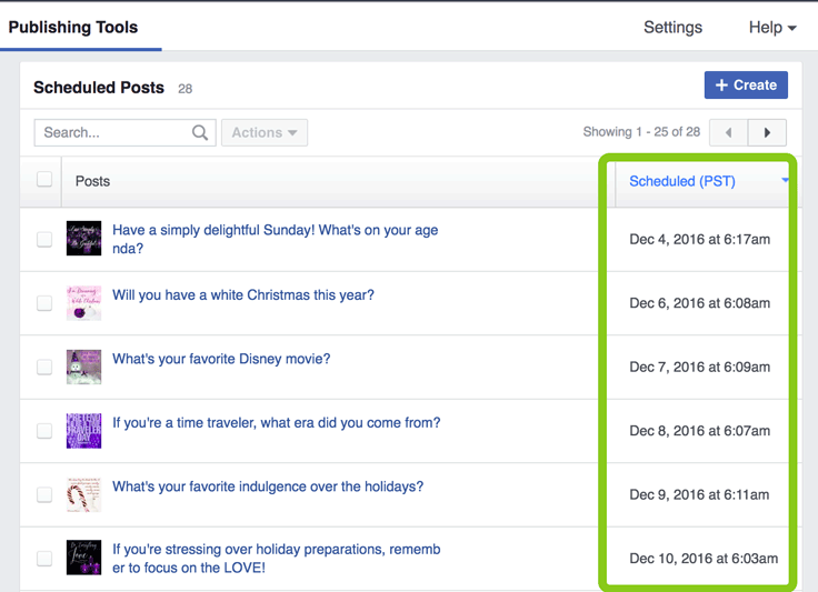 Scheduling Facebook posts: Make your list and check it twice! Well, once anyway ;)