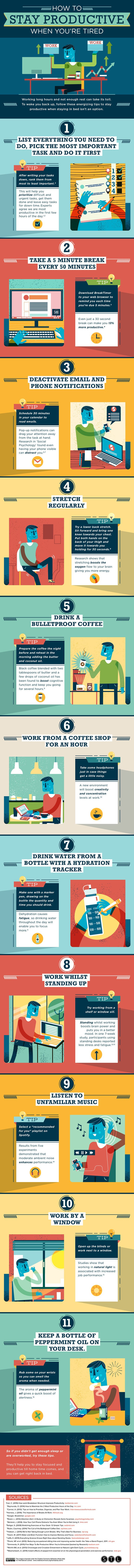 how to be productive all day infographic