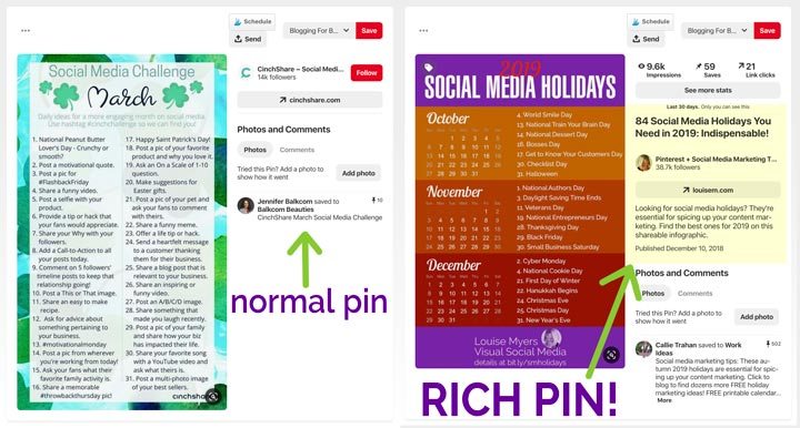rich pin vs normal pin