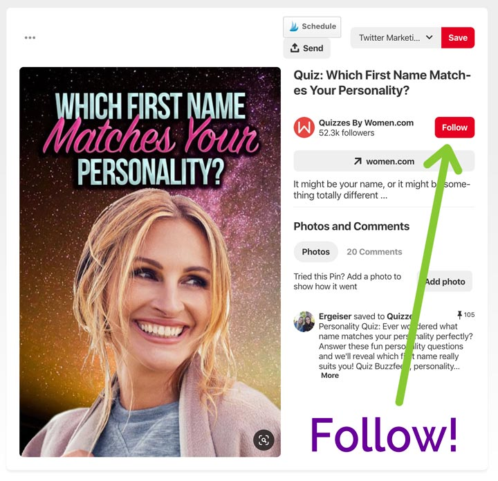 Rich Pins prompt you to follow the Pinterest account