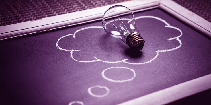 image of light bulb on chalkboard.