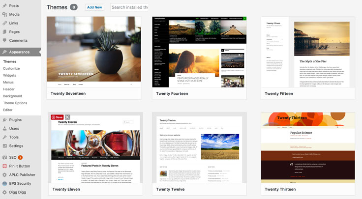 The newest theme from WordPress is the Twenty Seventeen theme. Or pick a different one if you prefer! WordPress keeps them updated for years, at no charge to you.