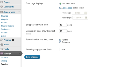 Reading Tab: this is where you select how you want your content to display. You want to decide if your blog is more of a static website than a general blog where the latest post will appear first.